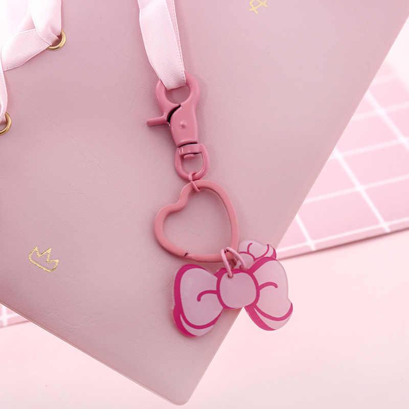 Llavero lindo de las muchachas rosadas de los niños 2019, llavero de corazón de la varita mágica para las mujeres, joyería de la flor del estilo japonés, bolsa accesorio