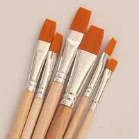 6 unids/set pincel de pintura de Guache de acuarela, crudo de diferentes forma redonda Punta de pelo de Nylon pintura cepillo arte suministros