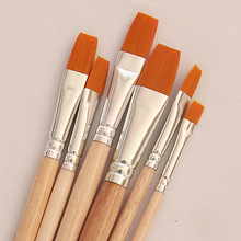 6Pcs/set Watercolor Gouache Paint Brush, crude wood Different Shape Round Pointed Tip Nylon Hair Painting Brush Set Art Supplies