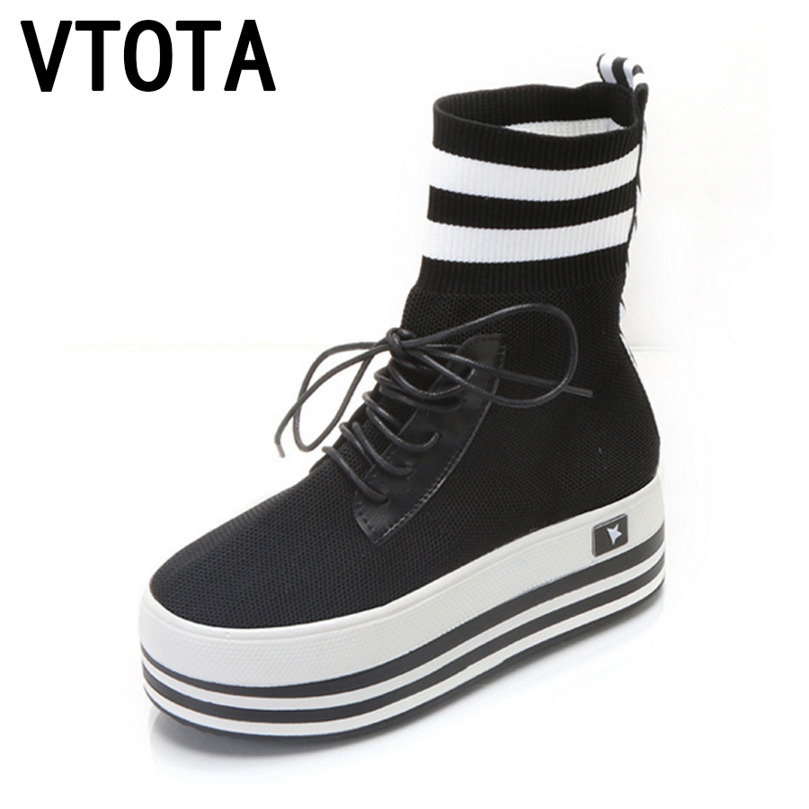 VTOTA Socks Boots Women Lace Up Platform Shoes Woman Botas Mujer Shoes Female Autumn Knitted Ankle Boots Flat Women Boots E56 e toy word fashion ankle boots women spring autumn shoes women lace up solid boots female height increasing platform botas mujer