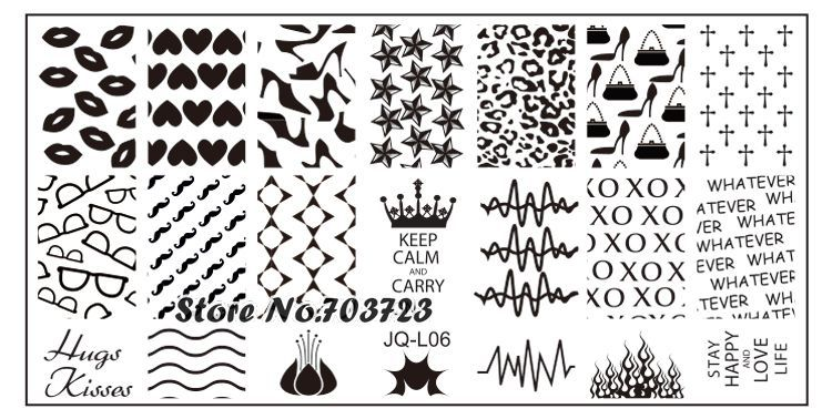 L Series Nail Stamping Plates Stamp Nail Art Template Manicure ...