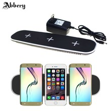 Abbery QI Wireless Charger for iphoneX 7plus Ultra-thin 12V/3A 3 in 1 QI Wireless Charger Charging Pad with USB Charging Adapter