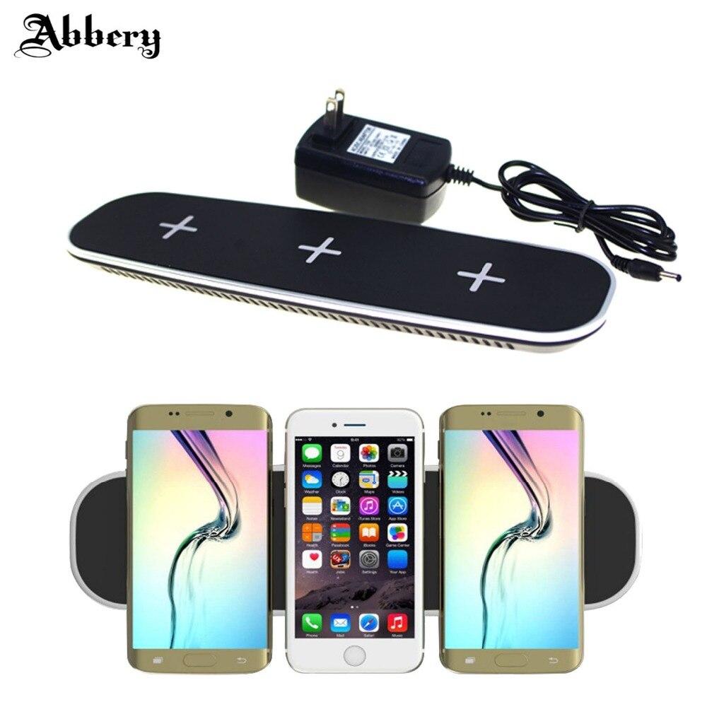 Chargeur sans fil abbéry QI pour iphone 7 plus Ultra-mince 12 V/3A 3 en 1 chargeur sans fil QI chargeur avec adaptateur de charge USB
