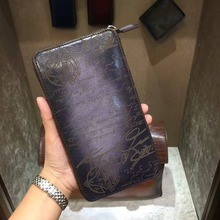 TERSE_2017 New release leather purse handmade mens genuine leather long wallet large capacity vintage engraving custom service