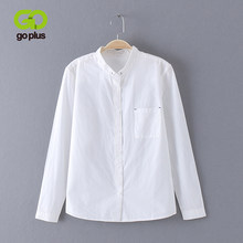 GOPLUS 2019 White Blouse Women Shirt Cotton Tops and Blouses Sweet Stand Collar Long Sleeves Blusas Femininas Shirts C4270(China)