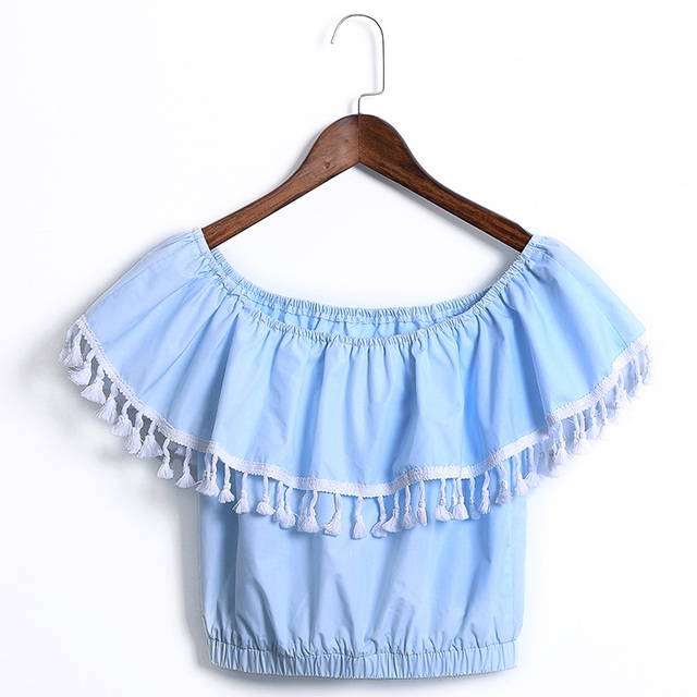 f5d903cea09 Off shoulder short sleeve ruffle cropped short blue blouse designer women  tops 2015 simple cute casual cheap china clothes sale