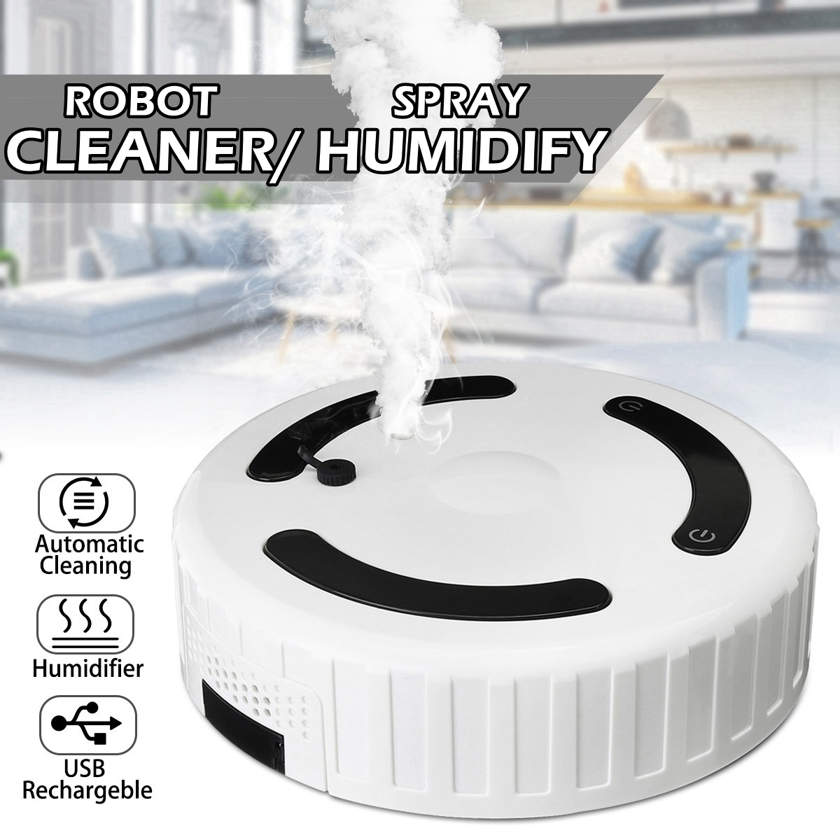 3 In 1 Smart Sweeping Robot Humidifier Automatic Vacuum Cleaner Strong Suction Dry Wet Clean Robot with Humidify Home Appliances