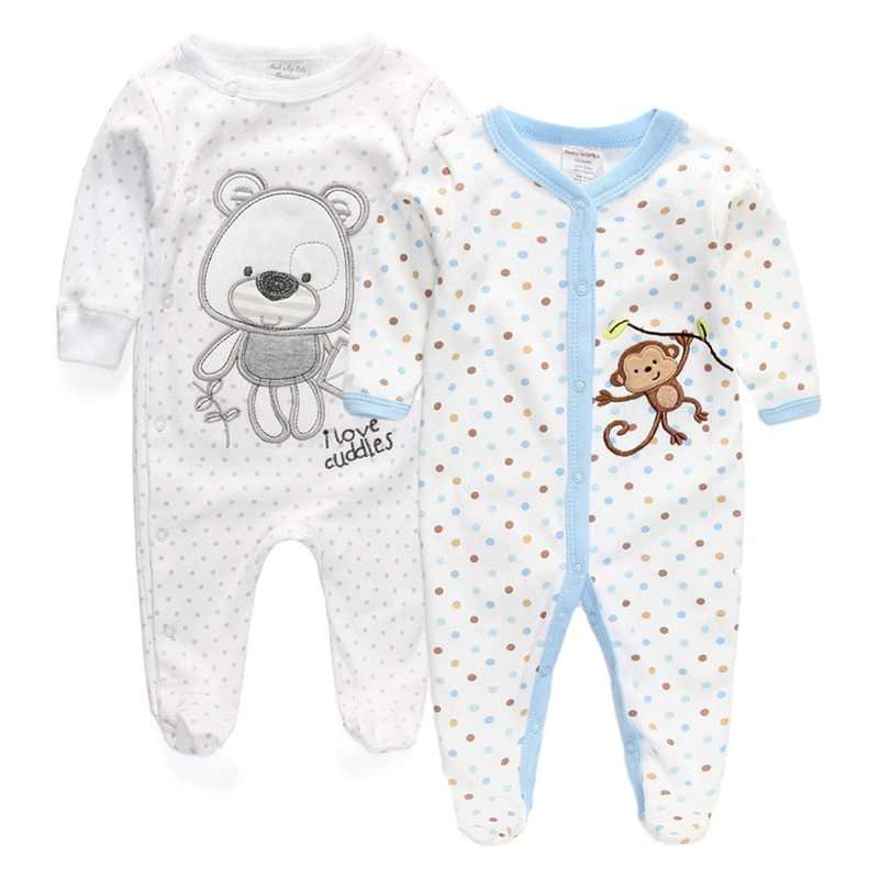 2 Pcs/lot Newborn Baby Girl Clothes 100%Cotton Baby Girl Boy Romper Cotton Long Sleeve Unisex