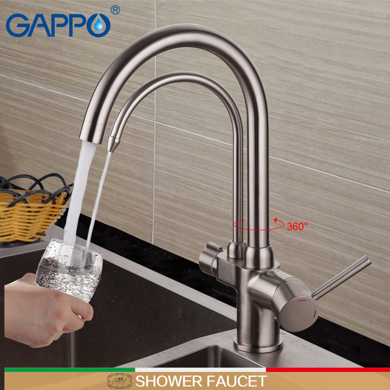 цена на GAPPO kitchen faucet with filtered water brass kitchen sink mixer bathroom kitchen mixer tap water crane faucet filter torneira