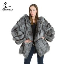 ФОТО fursarcar fashion elegant real silver fox fur with a hats and pocket for coat thick warm fur long winter women coats bf-c0060