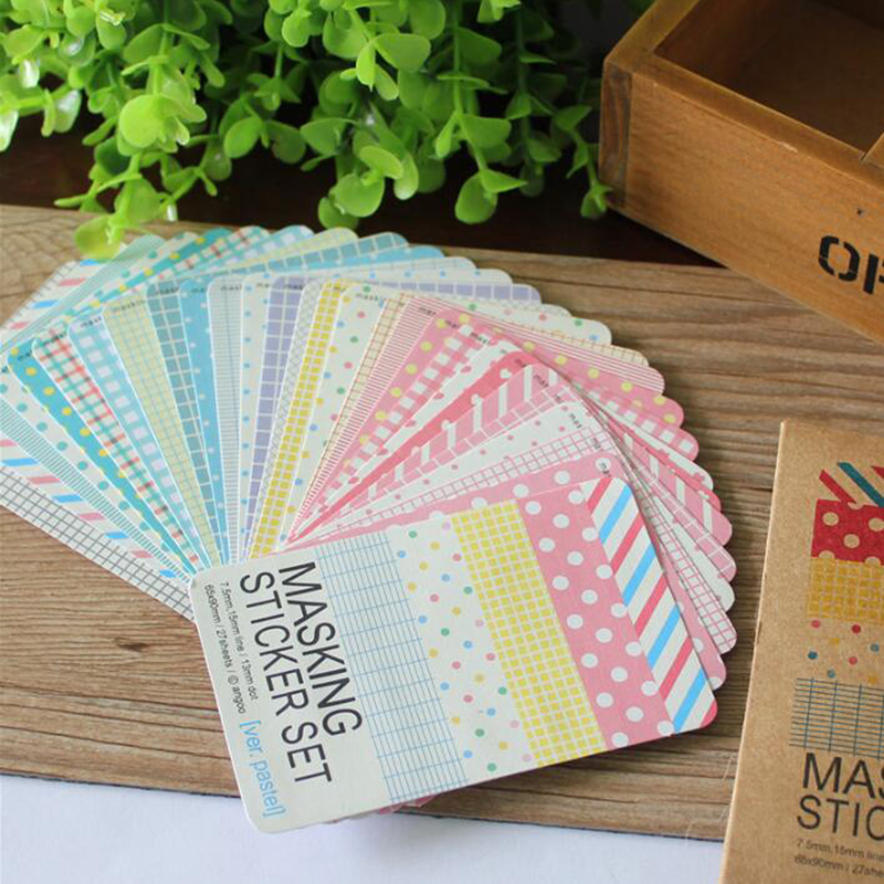 27Pcs/lot Scrapbooking Masking Tape Craft Journa Stickers Pack Decorative Label Art Adhesives Student Stationery Office Supplies craft