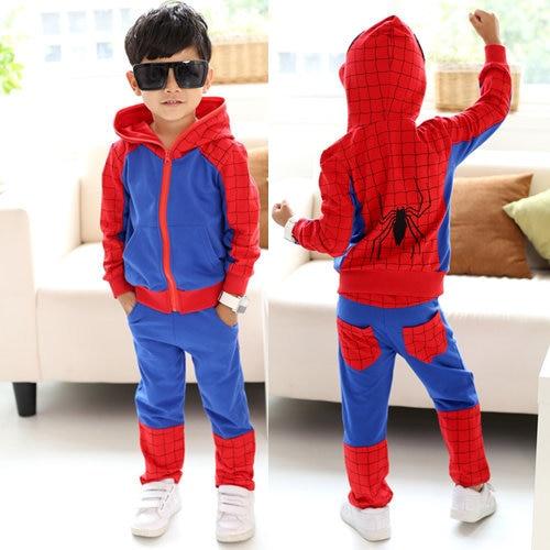 W-31, Spiderman, Children boys clothing sets, long sleeve zipper sweatshirt + pant sets, 2 versions
