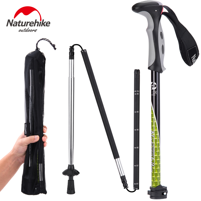 Brand NatureHike Outdoor <font><b>sticks</b></font> Carbon Steel lock 4 section foldable mountain walking <font><b>stick</b></font> telescopic cane Trekking Pole