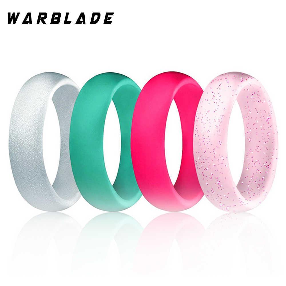 4-10 Tamanho Hipoalergênico Crossfit Esportes Flexível Anel de Dedo de Silicone de Grau Alimentício FDA Anel De Silicone Para O Presente de casamento Das Mulheres 5.7mm