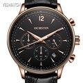 Ochstin moda hombres relojes de primeras marcas de lujo cronógrafo deportivo de cuero relojes hombres reloj de cuarzo reloj de pulsera relogio masculino