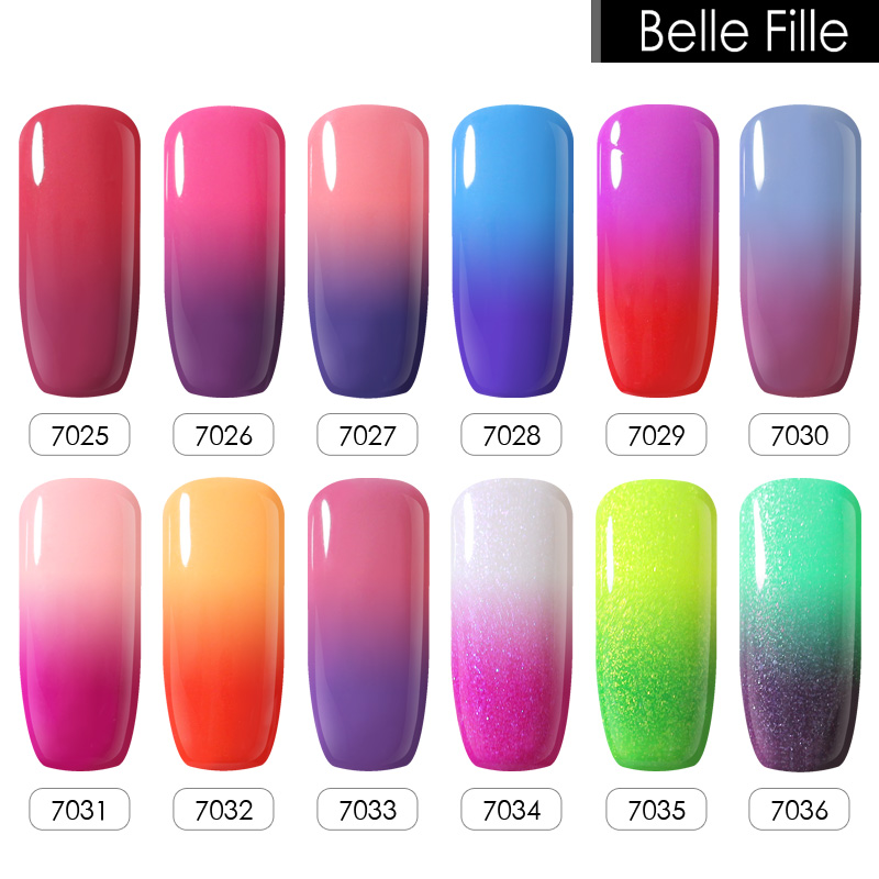 Belle Fille Gel varnish Nail Gel Polish Temperature Color Changing ...