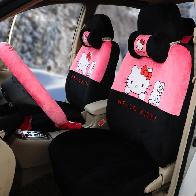 Hello Kitty 18pcs Universal Car Seat Covers Soft Plush Pinkblack