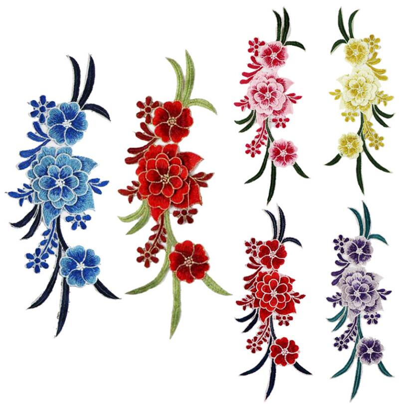 Large Embroidered Red and White Flower Iron On Patch Applique Iron On Patch