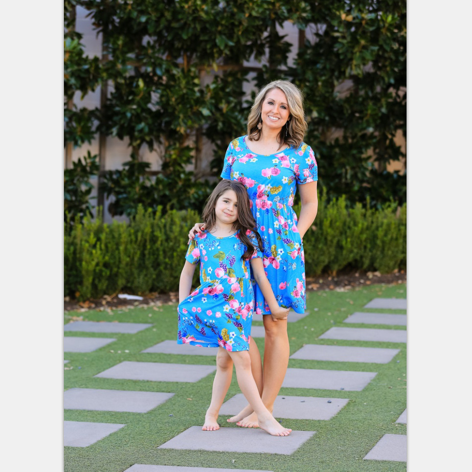 baby girl dress womens boutique clothing floral dresses 2019 mother daughter matching clothes new fashion family look print in Matching Family Outfits from Mother Kids