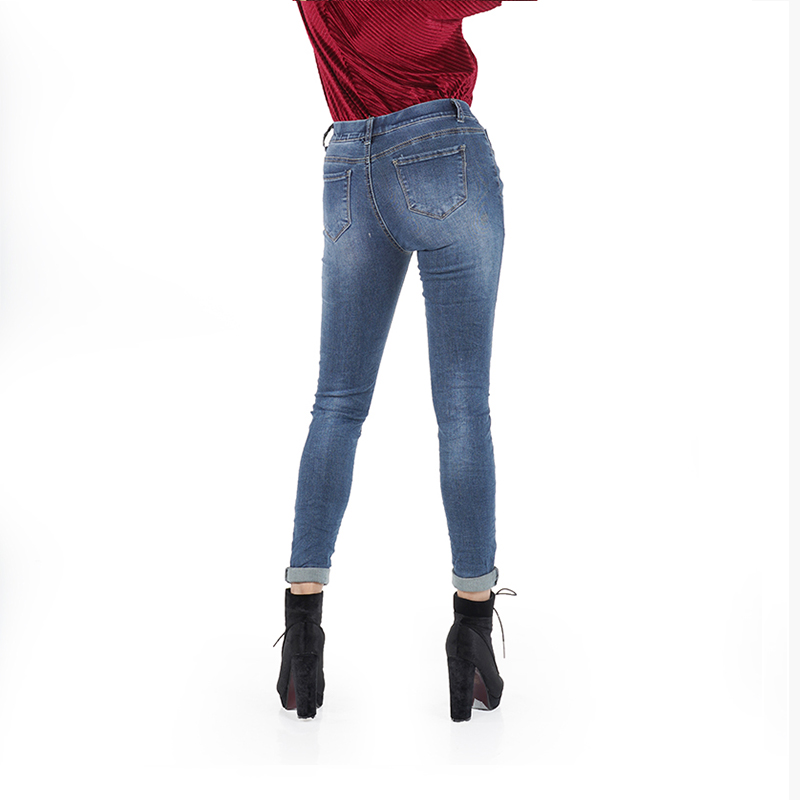 My Will Jeans Blue Tight Skinny High Elastic Band With Hole Fitness Pants Made In China 6336