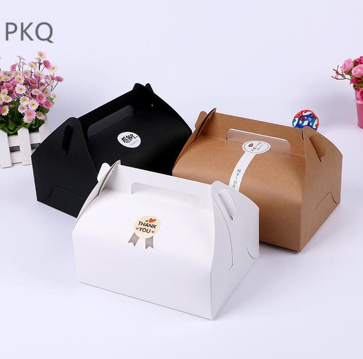 20pcs Brown White Black Kraft paper Box with handle for Bread Cookie Package Cupcake Packaging Box