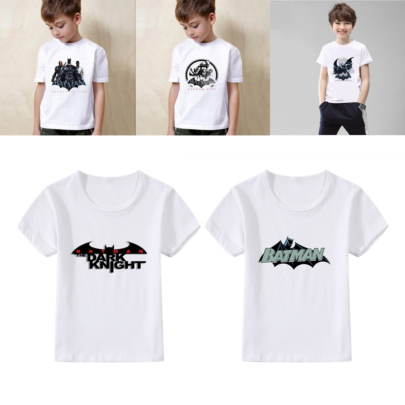 Batman Lovely Cool cartoon Summer Modal Kidswear Boy/girl T-shirt Short Sleeve White Kid Clothes
