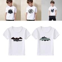 Batman Lovely Cool cartoon Summer Modal Kidswear Boy/girl T-shirt Short Sleeve White Kid Clothes