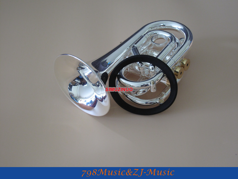 Silver Plated Pocket Trumpet Bb Horn With Case And Free LORICO Ring Mute