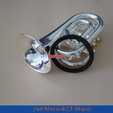 Посеребренная карманная Bb Труба Рог с Чехол и бесплатное кольцо LORICO Mute