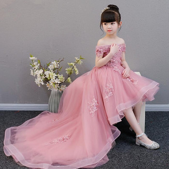 Glizt Appliques Girl Dress Flower Girl Wedding Dresses Long Trailing Girl Party Princess Birthday Dress First Communion Gown