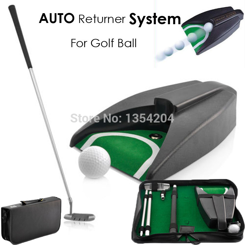 Home Indoor Outdoor Golf Training Set Golf Auto Putting Cup Ball Return System Zinc Alloy Putter Golf Training Aids for Fitness