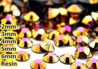 Jelly Złoty Hematyt AB Kolor 2mm, 3mm, 4mm, 5mm, 6mm Aspekty mieszkanie Powrót Żywica Rhinestone Gems Nail Art Dekoracje, Odzieży dżetów