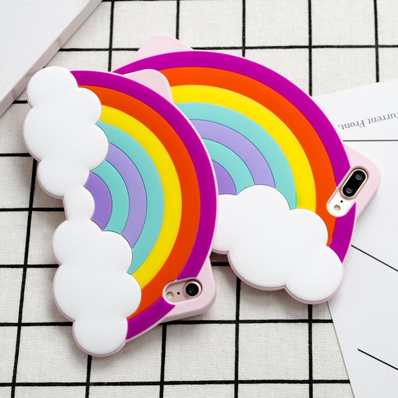 3D Rainbow Soft Silica Gel Phone Cases