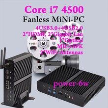 Graphique HD 4500 Мини-ПК Windows 2 * HDMI SD Карт 4 К HTPC Mini-Itx Микро Barebone PC NUC Intel Core i7 4500U Бесплатная доставка