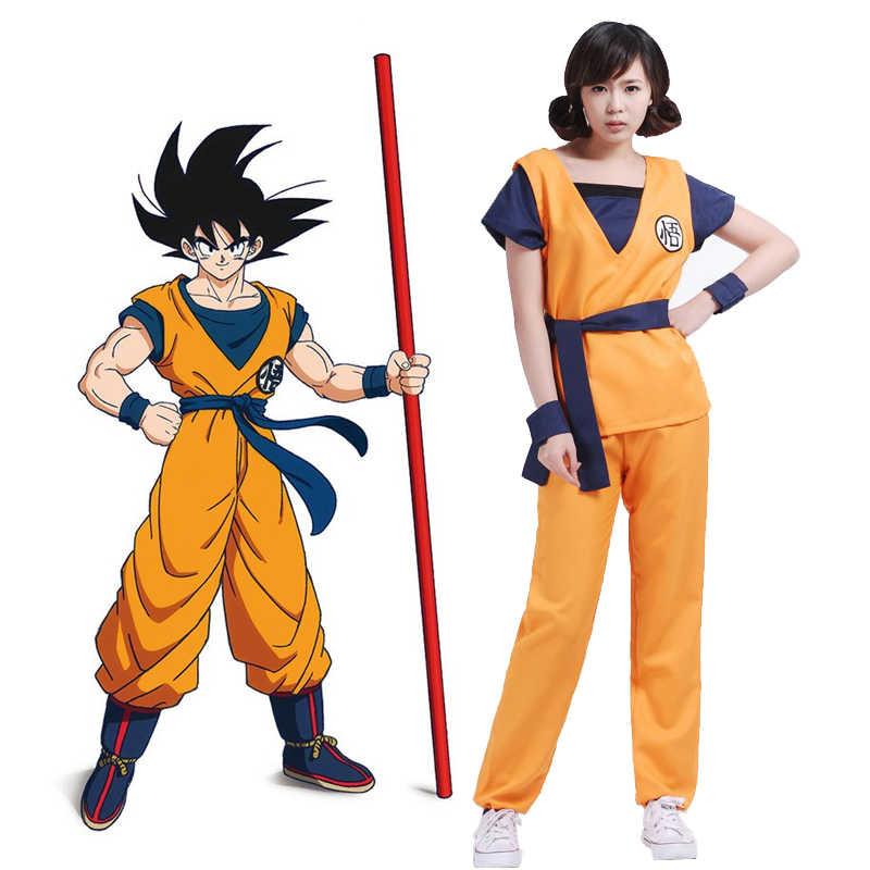 Аниме Dragon Ball Z косплей Супер Saiyan Сон Гоку Мастер Роши рубашки брюки куртка костюм Хэллоуин костюм кунг-фу наряд