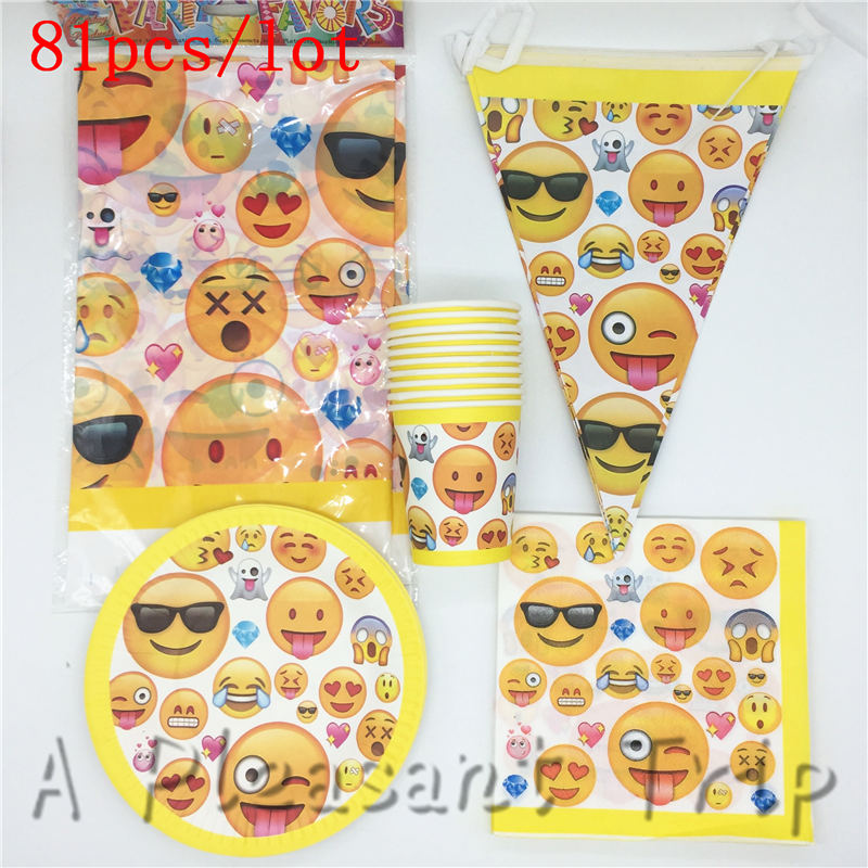 Emoji Theme Party Supplies 81pcs Lot 20 Kids Themed Birthday Tableware Face Smiling In Favors From Home Garden On