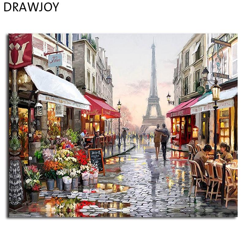 DRAWJOY Fotos Emolduradas Pintura DIY Por Números Pintado À Mão Home Decor Para Sala Arte Da Parede Pinturas Acrílicas GX4547