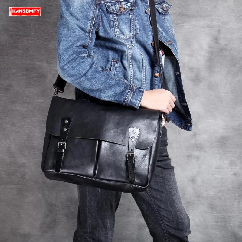 2019 Genuine Leather Casual Men's Briefcase Cross Section Business Laptop Handbag Manual Men Shoulder Diagonal Computer Bag Tide