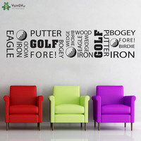 YOYOYU Wall Decal Golf Quotes Wall Stickers Golf Sport Poster Outdoor Sports Wall Decor For Bedroom Golf Course Vinyl Art QQ360