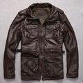 Angela-jeep M65 hombres chaqueta de cuero marrón de piel de vaca suave chaqueta de motociclista con cuatro bolsillos de moda chaqueta de cuero genunie/hombres de la capa