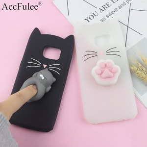 3D Cute Japan Glitter Bearded Cat Case For Samsung Galaxy S3 Neo S5 S6 S7 Edge S8 S9 Plus S10e S10 Lite Cute Squishy Cover(China)