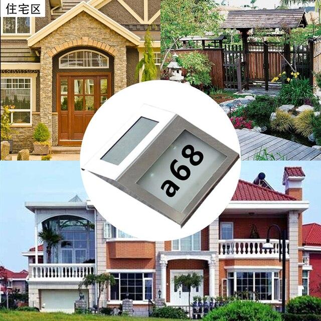 2 LED solaire en acier inoxydable adresse signe maison numéro lumière éclairage rue décoration solaire alimenté applique alphanumérique