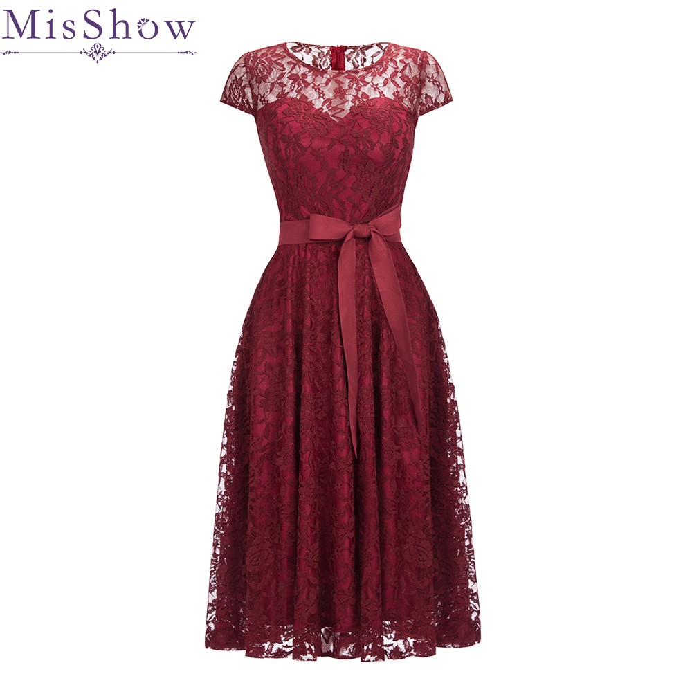 2019 New Short Evening Dress Lace Wine Red A-line Bride Party Formal Dress Homecoming Graduation Belted Dresses Robe De Soiree
