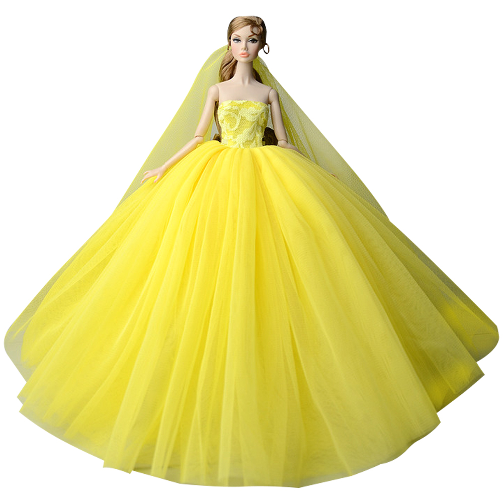 Detail Feedback Questions about NK NEWS Doll Dress Yellow High quality  Handmade Long Tail Evening Gown Clothes Lace Wedding Dress +Veil For Barbie  Doll 001D ... 623857e87488
