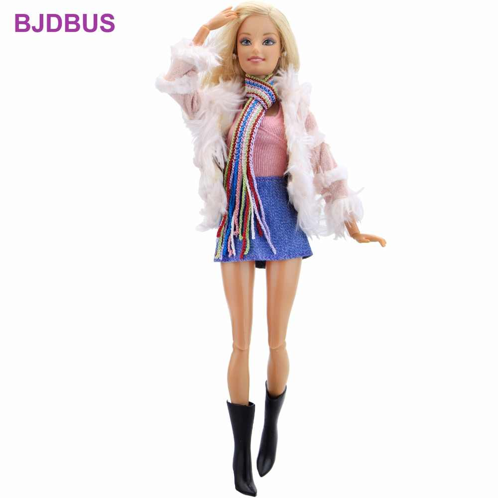 3c84e926d6ff ... Fashion Winter Outfit Pink Fur Coat Tops Denim Skirt Rainbow Scarf  Boots Shoes Clothes For Barbie ...