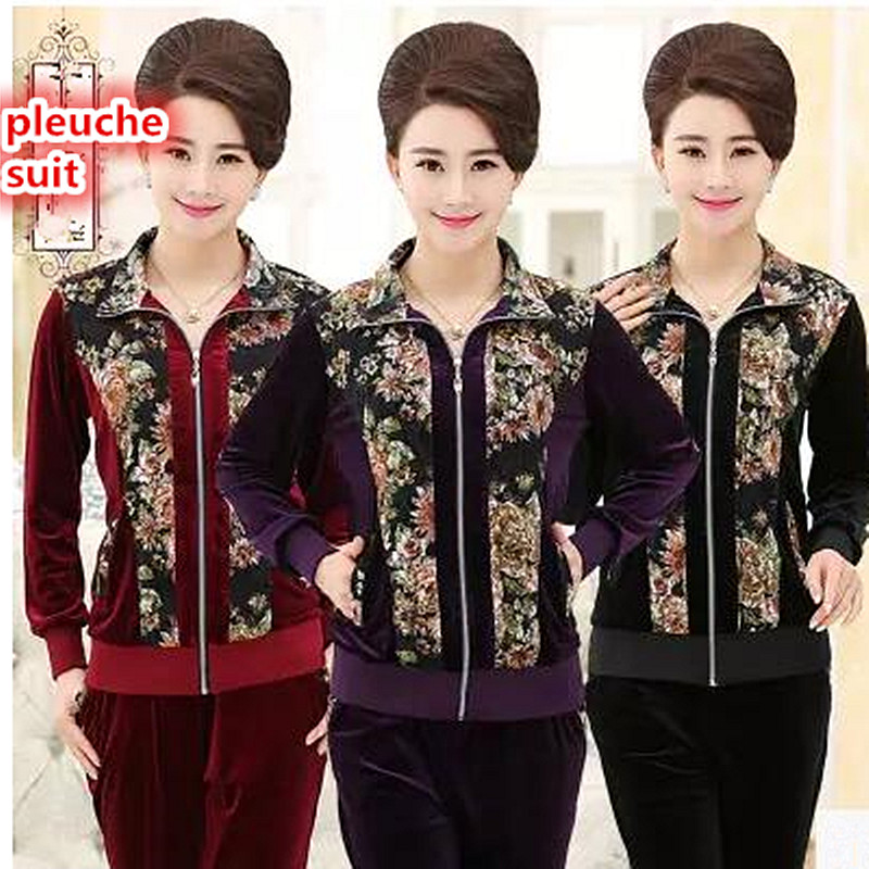 New fall 2017 high quality brand fine pleuche Middle aged old mother leisure suit fashion big