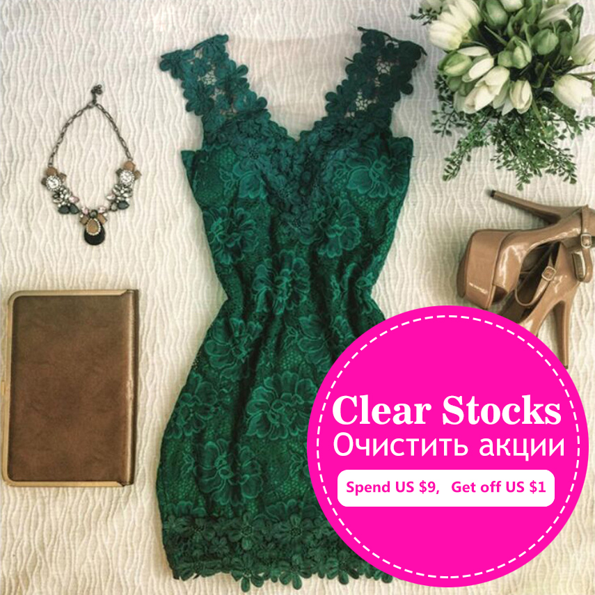 2016 Summer Style Fashion Women Slim Dress Comfortable Green Lace Vest Dresses Casual Wild O-neck Sleeveless A-line Dress