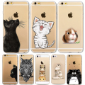 Cute Cat Phone Case For Apple iPhone 6 6S 5 5S SE Soft TPU Silicon Transparent Cover Cute Cat Owl Animal Phone Cases for iPhone