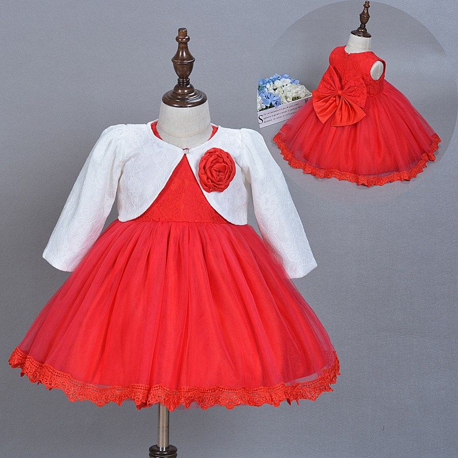 New Baby Dresses Girl Princess Wedding Birthday Big Bow Dress for ...