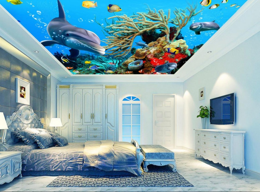 Custom Wallpaper For Kids Room Living Room Bedroom 3D Ceiling Murals Wallpaper Ocean World Wall papers Home Decor 3D Ceiling high definition sky blue sky ceiling murals landscape wallpaper living room bedroom 3d wallpaper for ceiling